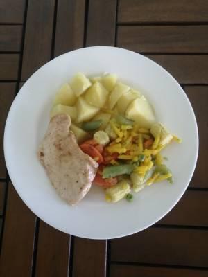 Přírodní kuřecí plátek, Míchaná zelenina, Vařené brambory